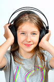 Girl like Music  headphones Royalty Free Stock Images