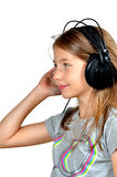 Girl like Music  headphones Royalty Free Stock Photo