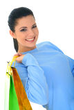 Girl Like Shopping. Beautiful young woman carrying shopping bags. isolated stock photos