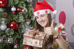 The girl liked new year's gift Royalty Free Stock Photos