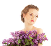 Girl with lilac Stock Photo