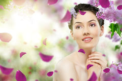 Girl with lilac Royalty Free Stock Image