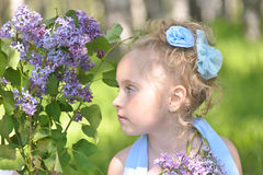 Girl with lilac Royalty Free Stock Photos
