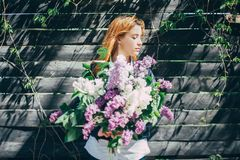 Girl with a lilac bouquet of lilac in the garden. girl tearing the lilac in the garden royalty free stock photo
