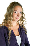 Girl in a lilac shirt Royalty Free Stock Photography