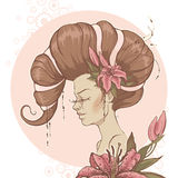 Girl with Lilies. Fantasy Girl with pink Lilies. Vector illustration Royalty Free Stock Images