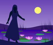 Girl by Lily Pond. A girl walks by a lily pond in the moonlight Royalty Free Stock Photography