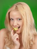 Girl with lime Stock Photos