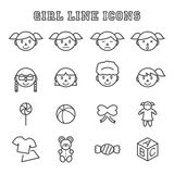 Girl line icons Royalty Free Stock Images