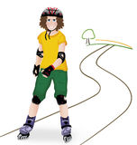 Girl on in-line skates. Young girl goes on in-line skates on the road Royalty Free Stock Photography