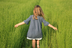 Girl and linen Royalty Free Stock Photos