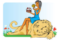 Girl with lion and cake. Stock Images