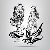 A girl with a lion tamer in the patterns. Vector illustration. Girl tamer of wild cats with elements of vegetation Royalty Free Stock Photos
