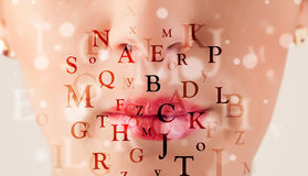 Girl lips breathing fonts and characters close up Royalty Free Stock Photos