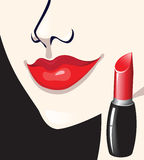 Girl and lipstick Stock Image