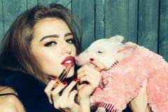 Girl and lipstick Stock Image