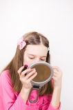 Girl with lipstick and mirror Stock Photo