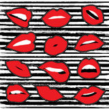 Girl lipstick mouth set for patch or sticker Stock Photography
