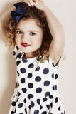 Girl in lipstick and polka dots Stock Photos