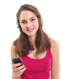 Girl listen music. Stock Photos