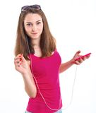 Girl listen music. Stock Photo