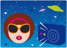 girl listen radio vintage ελεύθερη απεικόνιση δικαιώματος