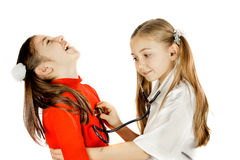 Girl listen to the heartbeat Royalty Free Stock Photo