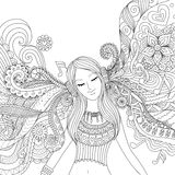 Girl listen to music adult coloring book Royalty Free Stock Photos