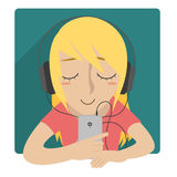 Girl listen to music with headset Royalty Free Stock Images