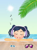 Girl listen to music in summer Royalty Free Stock Photo