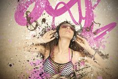 Girl listen to pop music. With motion effect Royalty Free Stock Images