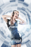 Girl listening disco music Royalty Free Stock Photography