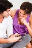 Girl listening her boyfriend deeply. Portrait of young girl listening her boyfriend deeply Stock Photo