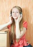 Girl listening music Royalty Free Stock Photos