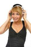 Girl listening music Stock Photos
