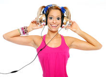The girl listening a music. Royalty Free Stock Photo