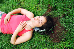 Girl Listening Music . Royalty Free Stock Images