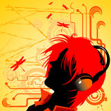 Girl listening music. Vector abstract composition illustration Stock Images