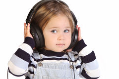 Girl listening music Stock Photos