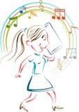 A girl listening music Stock Image