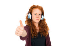 Girl is listening music Royalty Free Stock Image