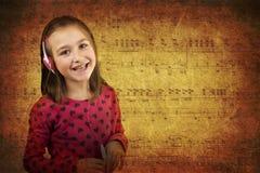Girl Listening Music Grunge Stock Images