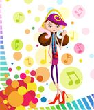 Girl listening music in headphone. Stylish girl listening music in headphone Stock Photography