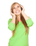 Girl listening music with headphones Stock Photo