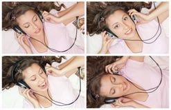 Girl Listening Music In Headphones Royalty Free Stock Photo
