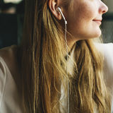 Girl Listening Music Radio Concept royalty free stock photo