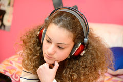 Girl listening music Royalty Free Stock Images
