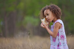 Girl Listening for the Sea. African-Hispanic 4-year-old girl holding sea shell to ear listening for the sound of the ocean Stock Photo