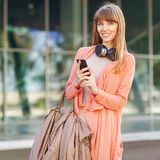 Girl listening to MP3 player Stock Image