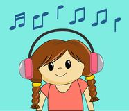 Girl Listening to Music. Cute cartoon girl listening to music Royalty Free Stock Photography